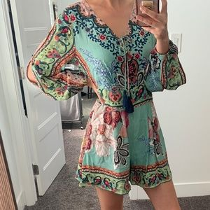 Floral Long-sleeved Playsuit